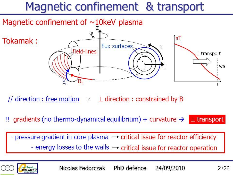 Magnetic confinement & transport