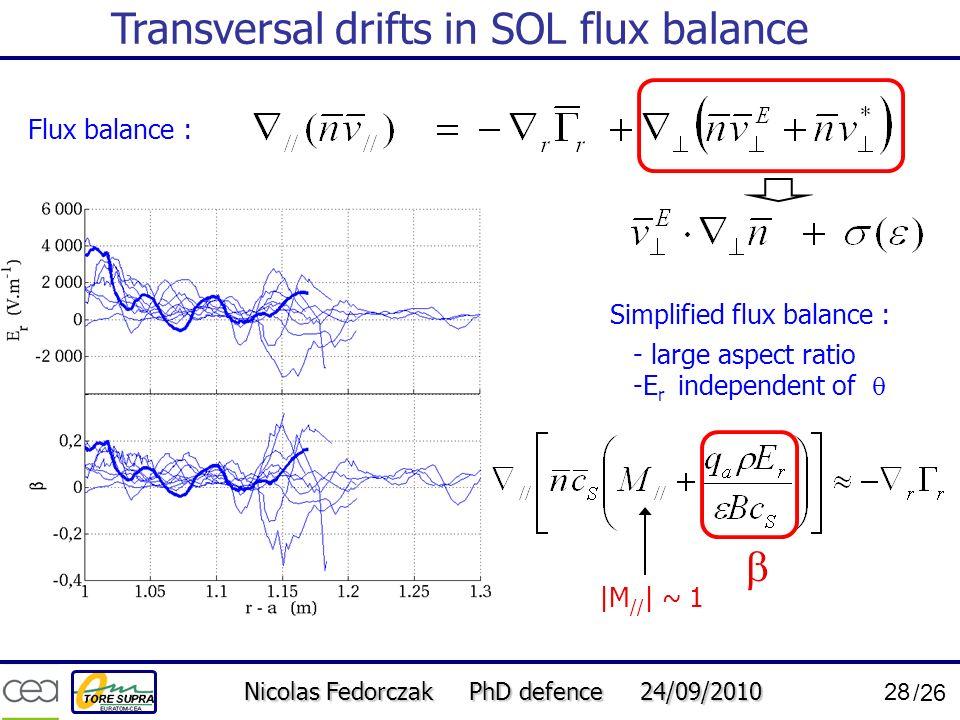 Transversal drifts in SOL flux balance
