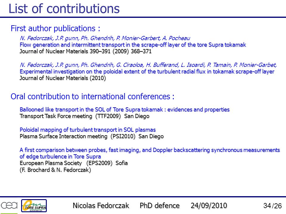 List of contributions First author publications :
