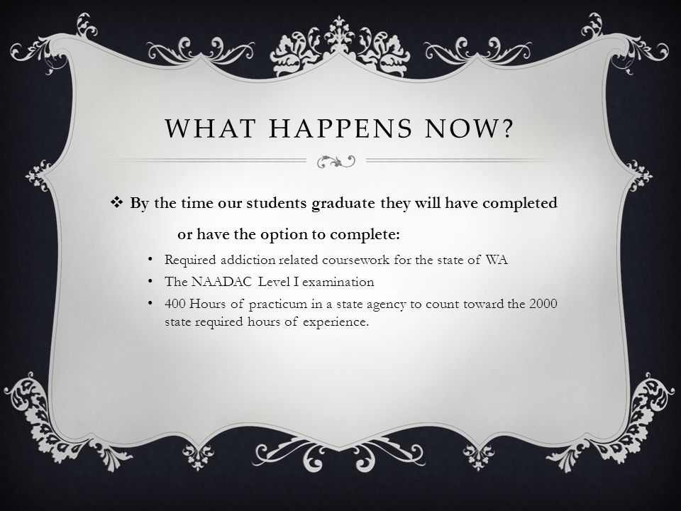 What happens Now By the time our students graduate they will have completed or have the option to complete: