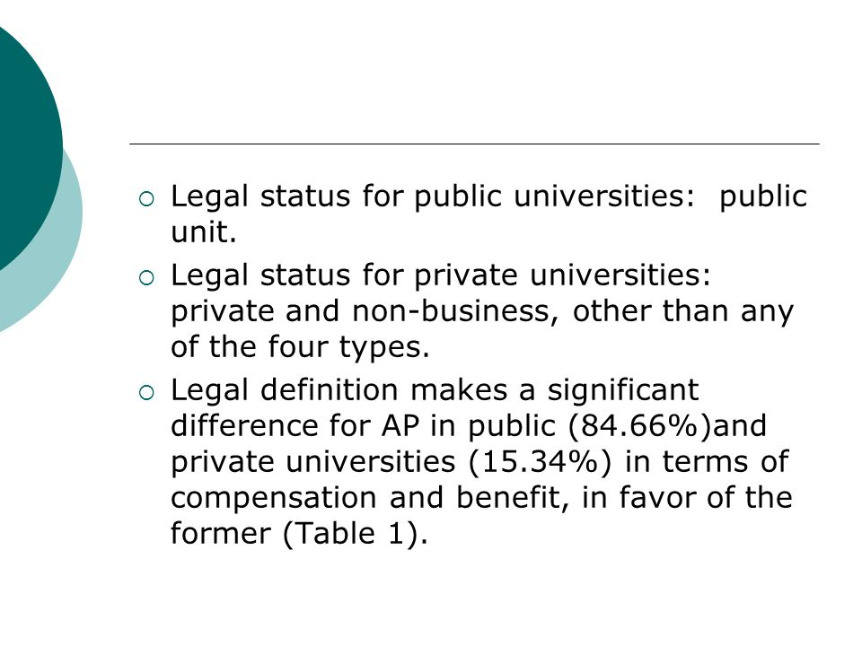 Legal status for public universities: public unit.