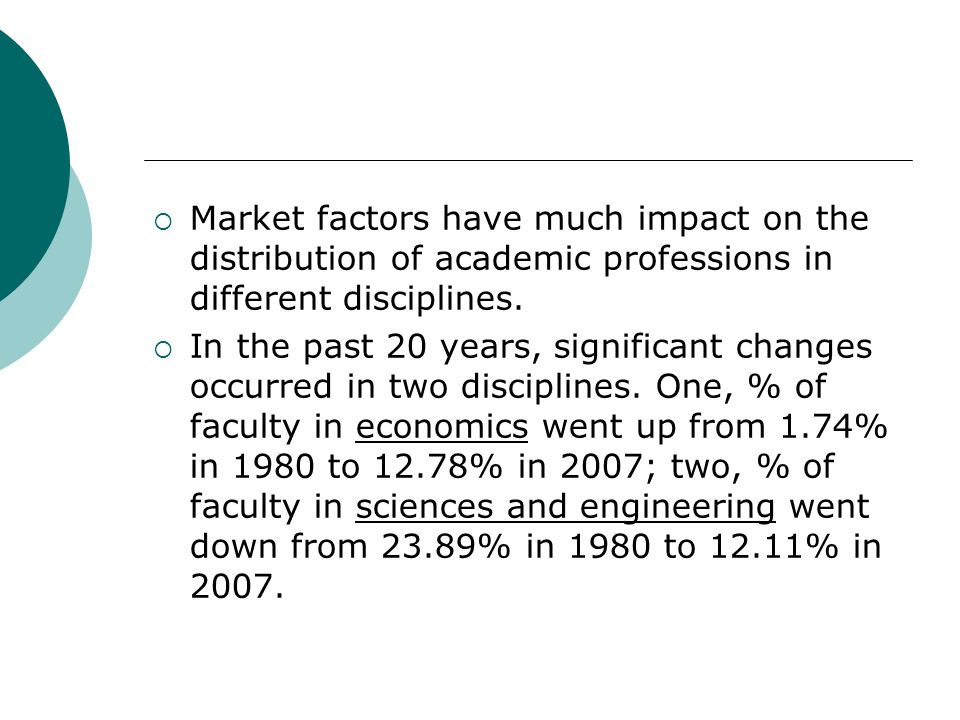 Market factors have much impact on the distribution of academic professions in different disciplines.