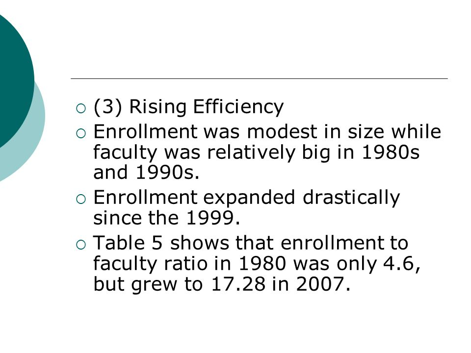(3) Rising Efficiency Enrollment was modest in size while faculty was relatively big in 1980s and 1990s.
