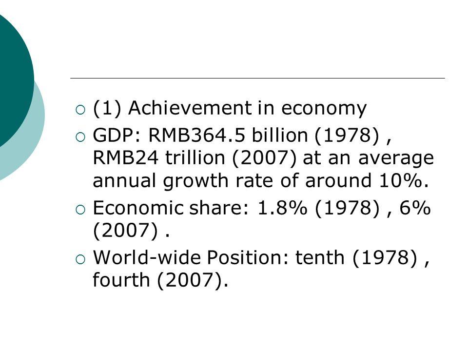 (1) Achievement in economy
