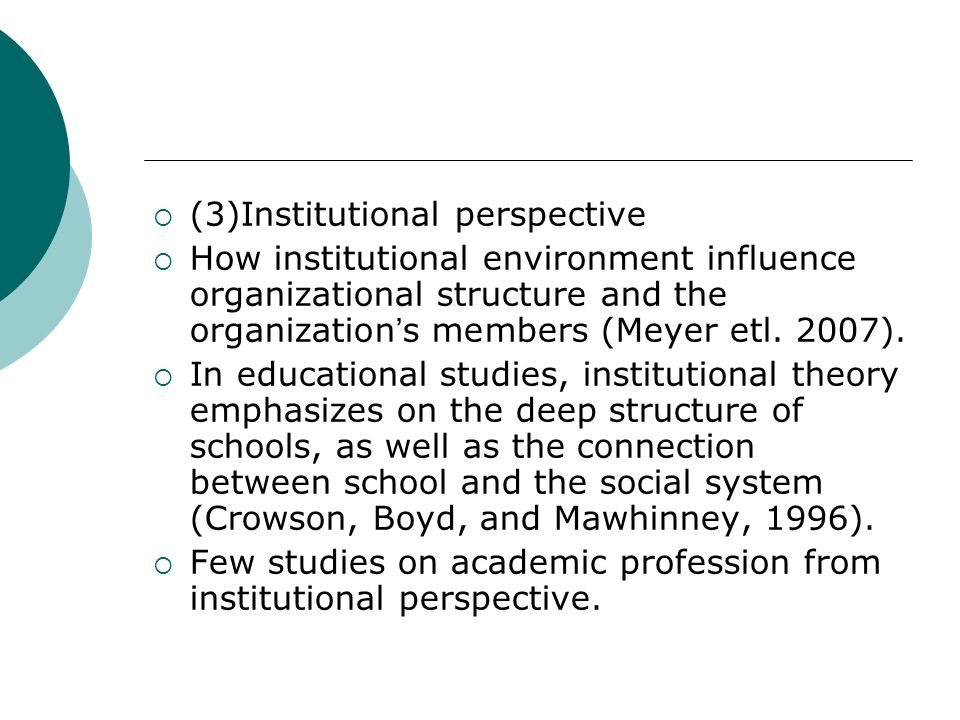 (3)Institutional perspective