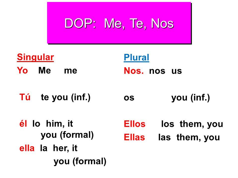 DOP: Me, Te, Nos Plural Singular Nos. nos us Yo Me me os you (inf.)