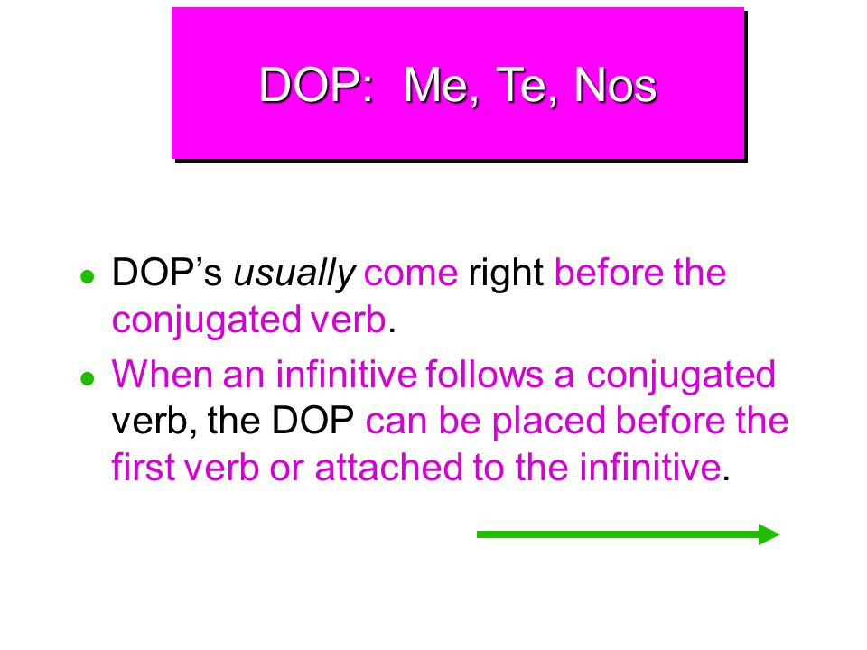 DOP: Me, Te, Nos DOP's usually come right before the conjugated verb.