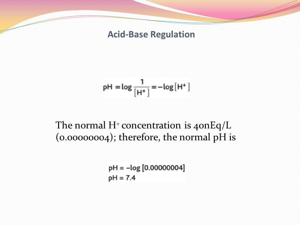 Acid-Base Regulation The normal H+ concentration is 40nEq/L.