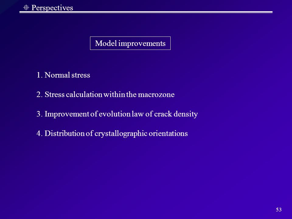  Perspectives Model improvements. 1. Normal stress. 2. Stress calculation within the macrozone. 3. Improvement of evolution law of crack density.