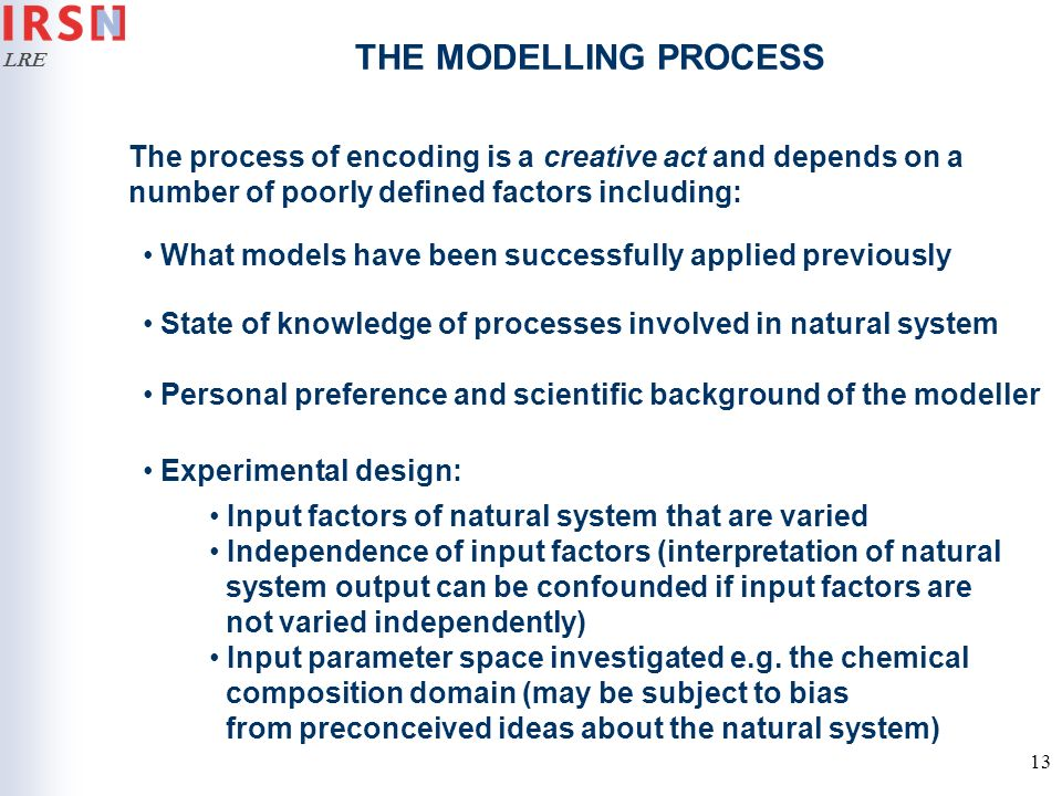THE MODELLING PROCESS The process of encoding is a creative act and depends on a number of poorly defined factors including: