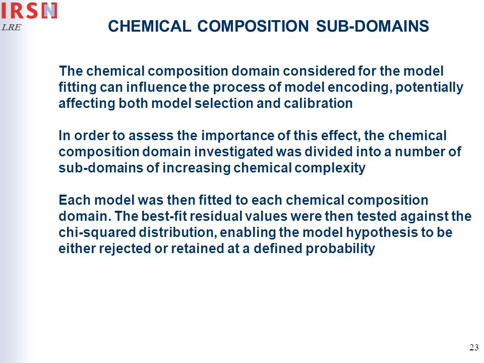 CHEMICAL COMPOSITION SUB-DOMAINS