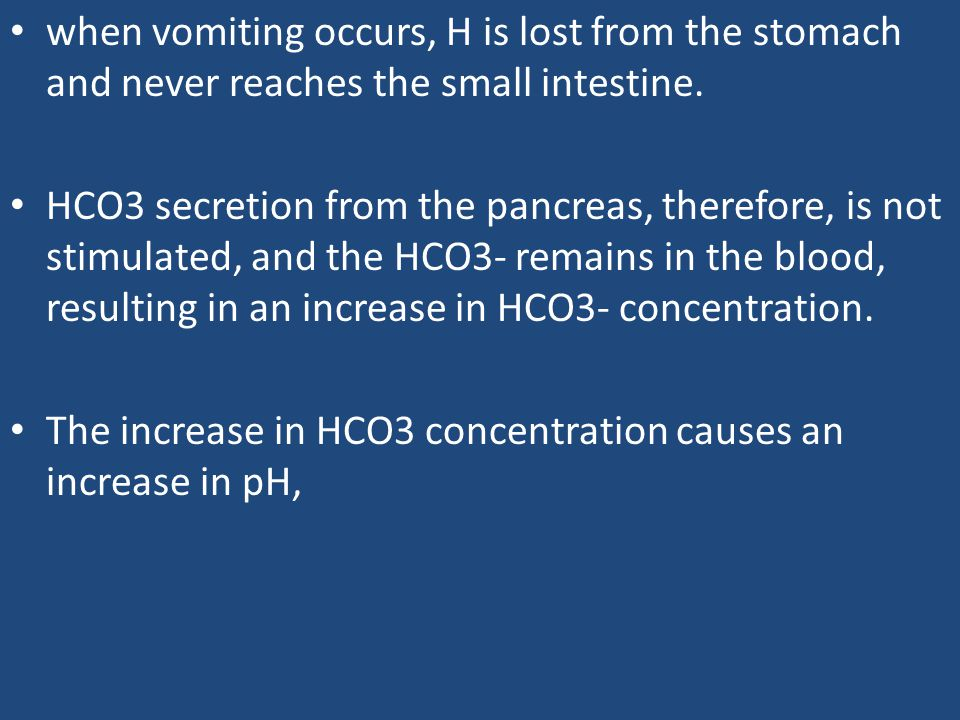when vomiting occurs, H is lost from the stomach and never reaches the small intestine.