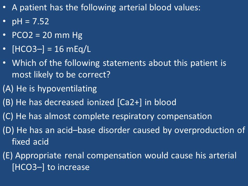 A patient has the following arterial blood values: