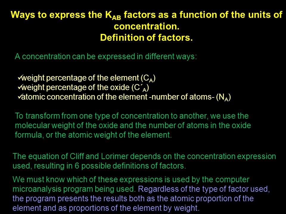 Ways to express the KAB factors as a function of the units of concentration.