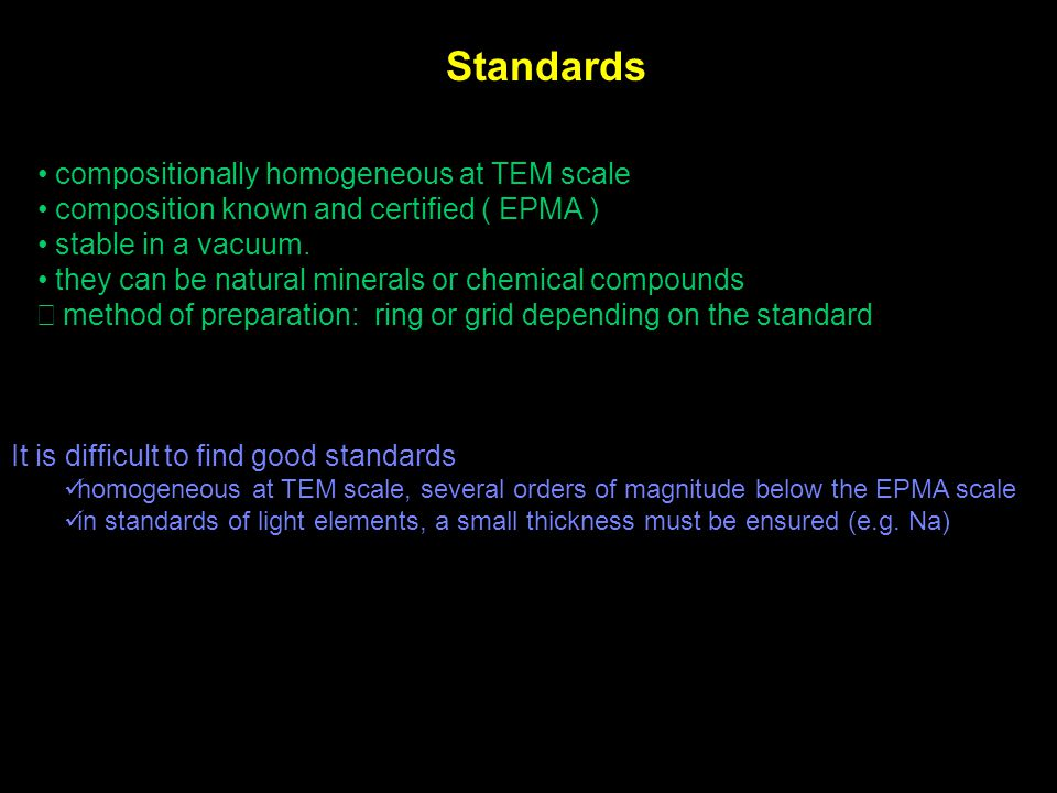 Standards compositionally homogeneous at TEM scale