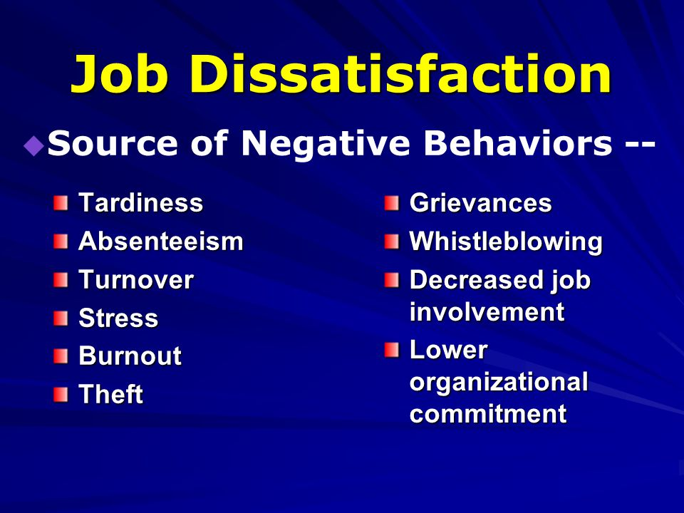 contributors of stress decreased job satisfaction Running head: burnout and coping and stress management 1 nurse burnout and the effects of coping and stress management.