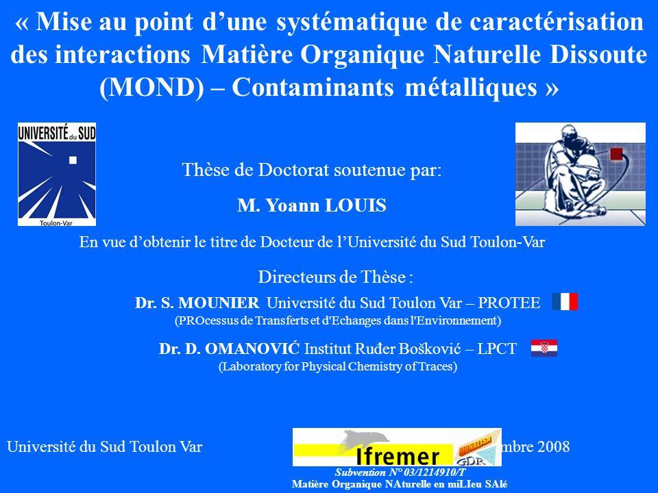 « Mise au point d'une systématique de caractérisation des interactions Matière Organique Naturelle Dissoute (MOND) – Contaminants métalliques »