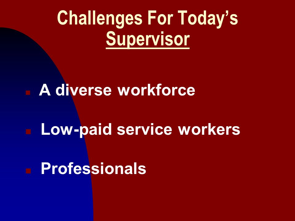 Challenges For Today's Supervisor
