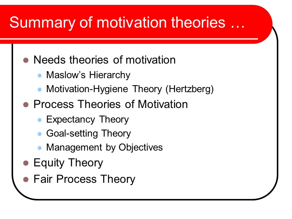 a discussion on theories of motivation Needs theories overview needs-based motivation theories stem from the understanding that all motivation comes from an individual's desire to fulfill or achieve a need.