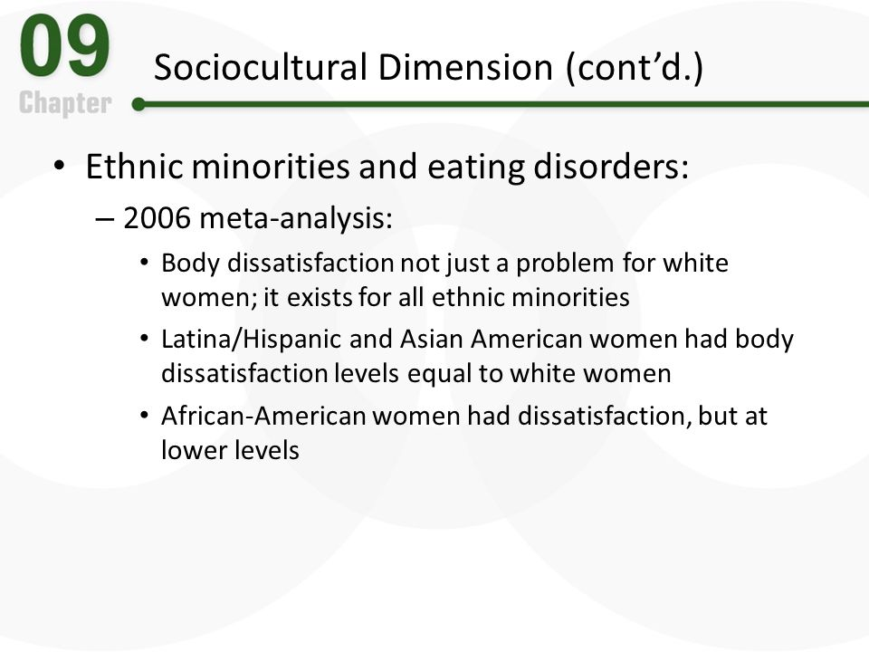 a discussion on the issue of eating disorders among minorities Care for your mind is extending its coverage of national minority mental  last  year, mha learned that people don't talk about issues of mental health in most  communities,  national eating disorders association (neda.