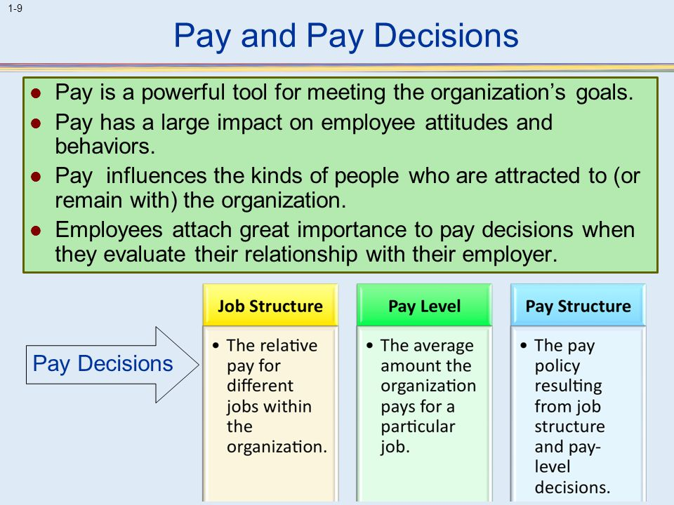 Pay and Pay Decisions Pay is a powerful tool for meeting the organization's goals. Pay has a large impact on employee attitudes and behaviors.