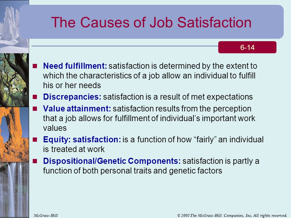 causes and effect of job satisfaction on a company The effect of income and working conditions on job satisfaction  this causes workers to become unhappy with their jobs and sometimes quit, which can be costly both.