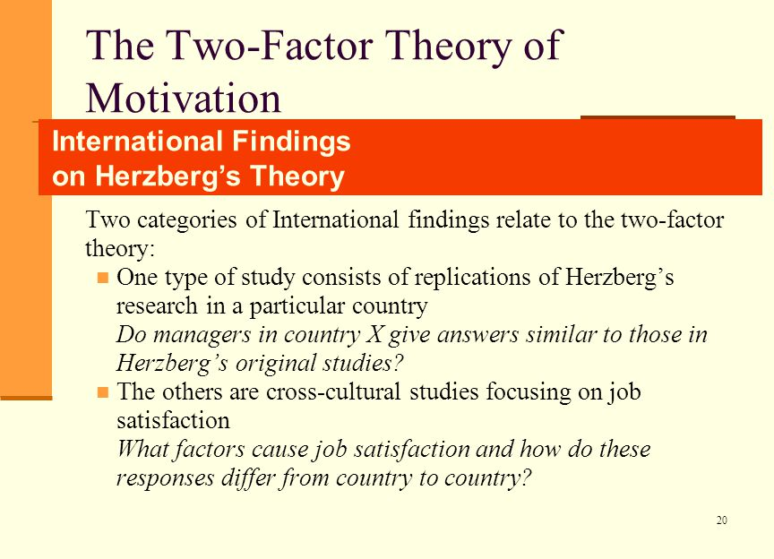 what role would money play in two factor theory The impact of the motivation on the employee's perfor success of any organization motivation play an important role herzbergs theory of two factor.