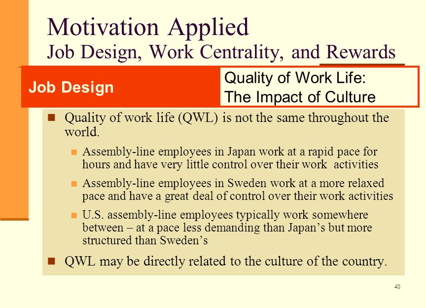 job design motivation and job aspects Keywords: job design, job rotation, job enlargement, job enrichment, job  satisfaction, motivation introduction job design is in fact a combination of.