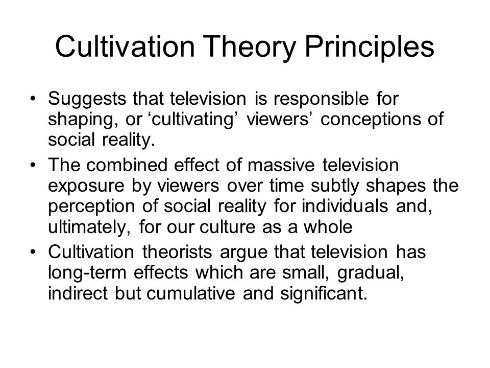 an introduction to gerbners cultivation theory and television Political functions of television viewing: a cultivation analysis  george  gerbner: a critical introduction to media and communication theory.