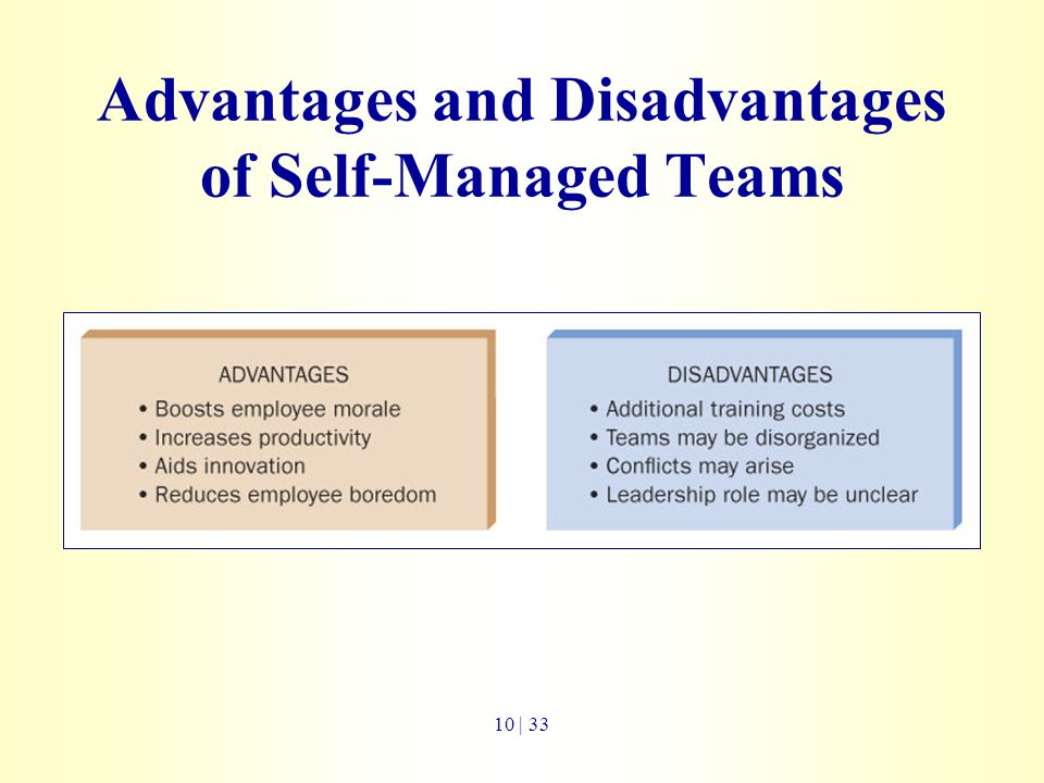 advantages and disadvantages of self manage work teams Start studying chapter 7 leader member exchange and followership or work environment is created the self-managed team blank is the external leader.