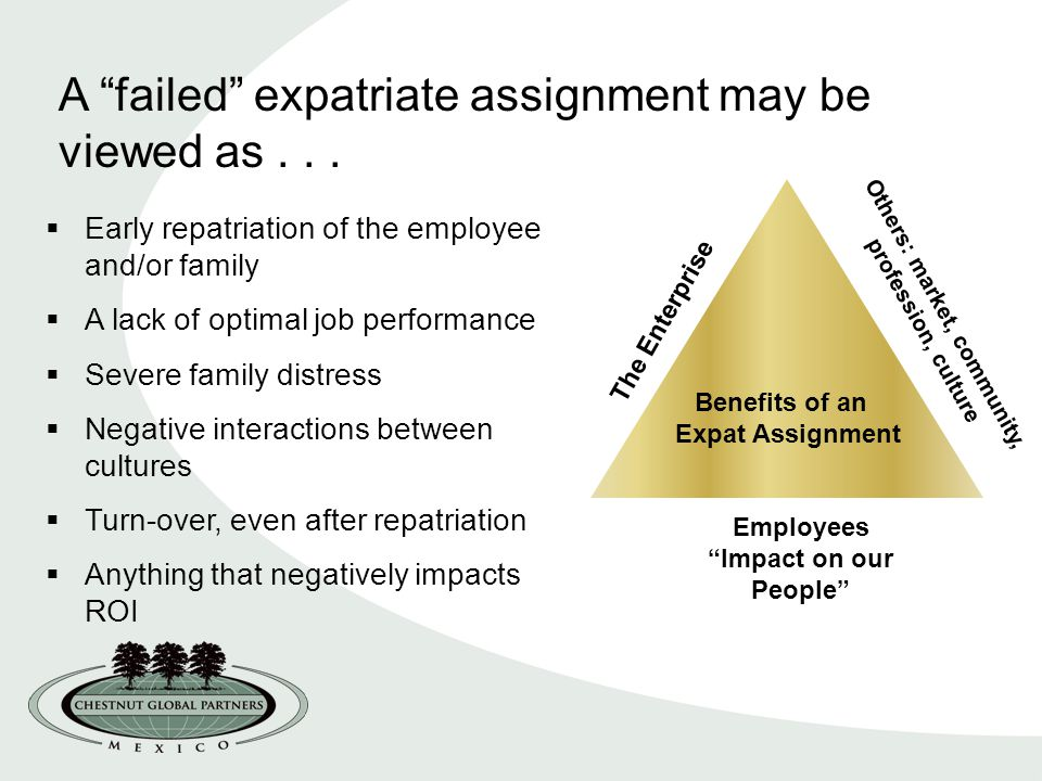 expatriate assignment personality measurement Requirements of expatriate trailing spouses by reasons for accepting an international assignment 40 27 expatriate characteristics of good measurement 151 4.