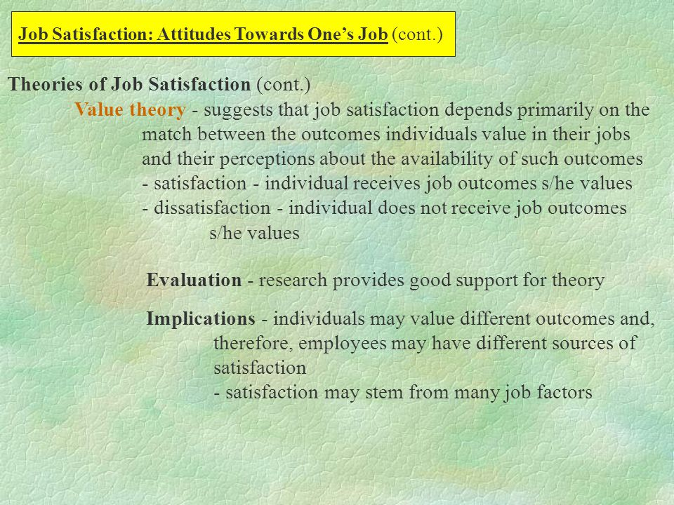 theory on work related attitudes In psychology, there are three key theories that describe attitude formation this  lesson names the three founders of attitude formation while.