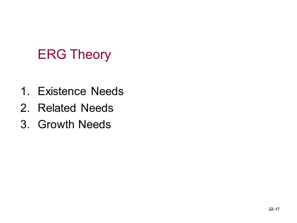 ERG Theory Existence Needs Related Needs Growth Needs