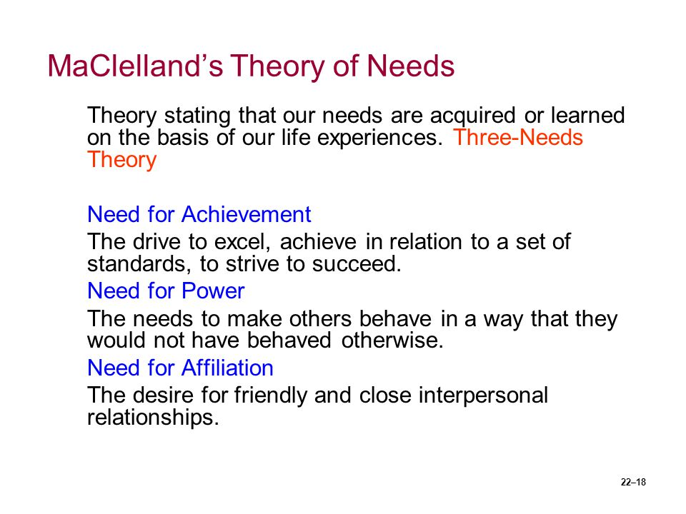MaClelland's Theory of Needs
