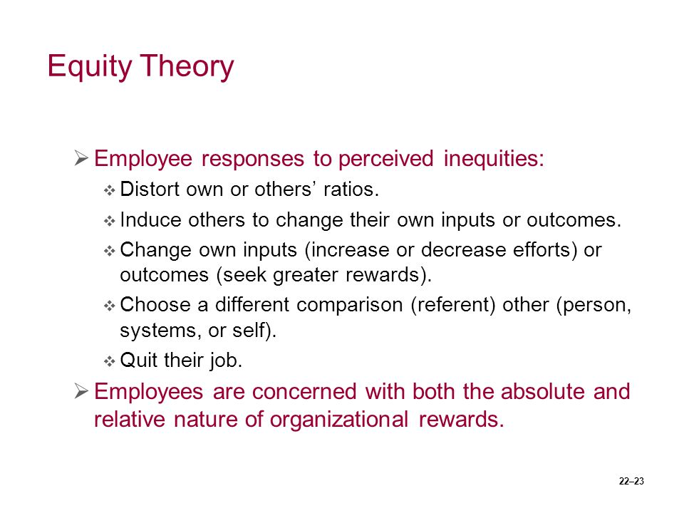 Equity Theory Employee responses to perceived inequities: