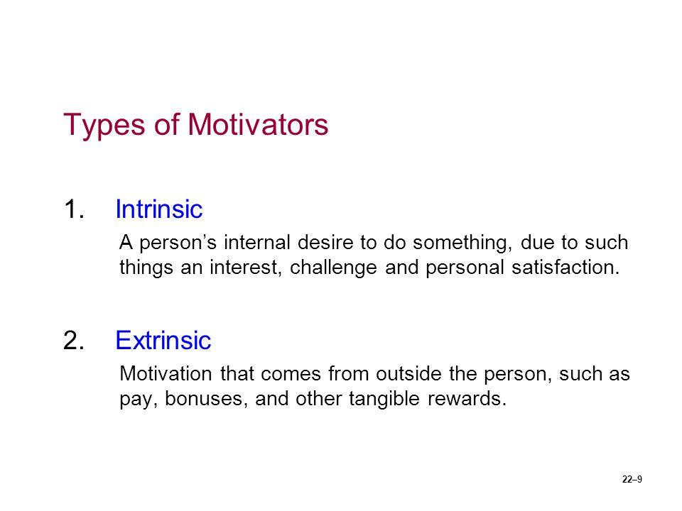 Types of Motivators 1. Intrinsic 2. Extrinsic