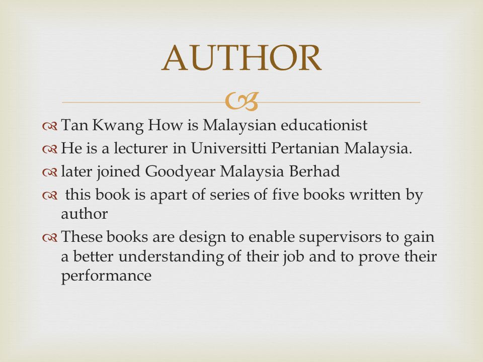AUTHOR Tan Kwang How is Malaysian educationist