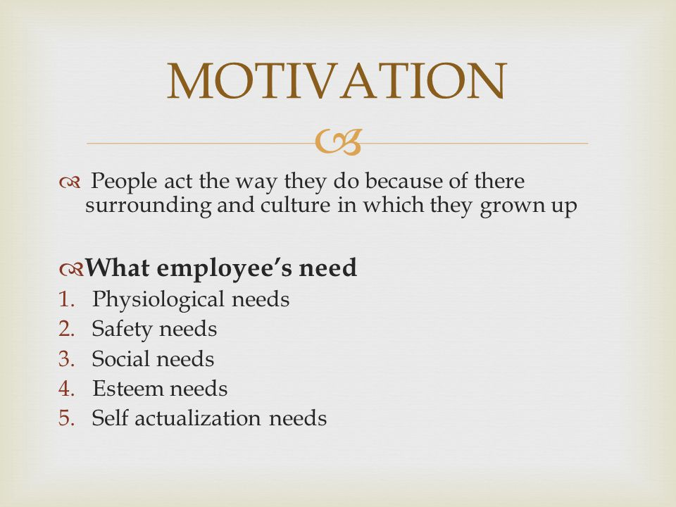 MOTIVATION What employee's need