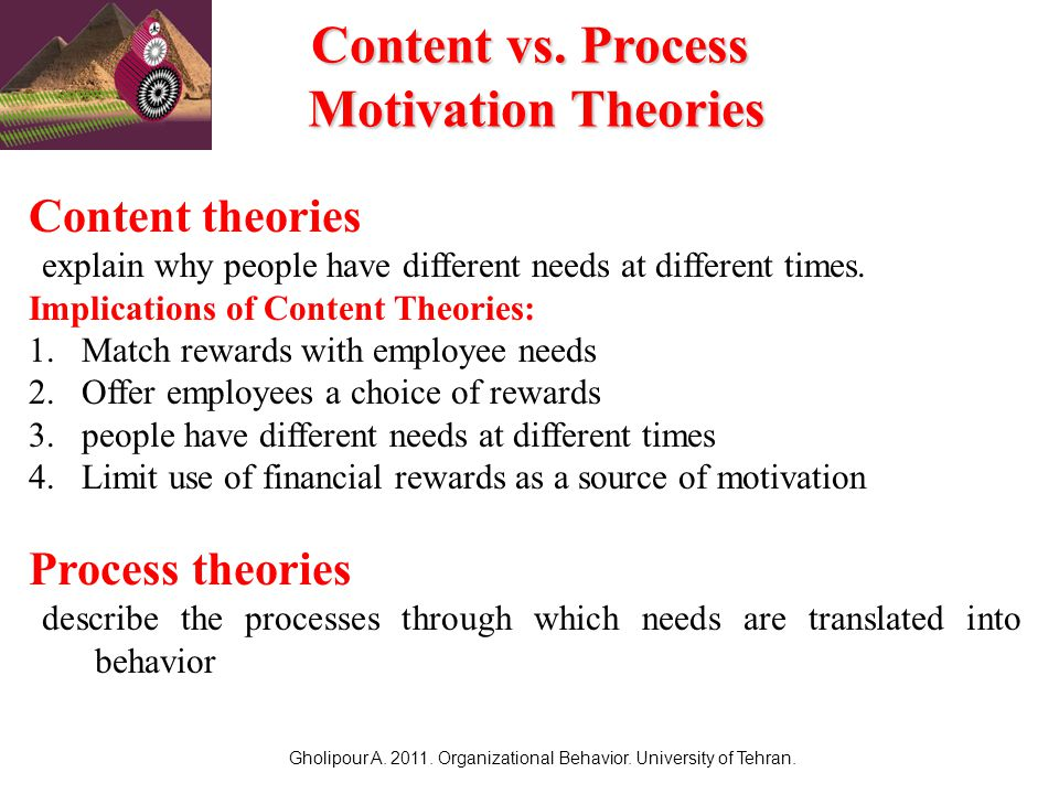 "process and content theories of motivation essay Free essay: equity theory of motivation introduction: robbins & judge (2007, p 186) defines motivation ""as the processes that account for an individual's  ""in  equity theoryshow more content 3) other '' inside: the employee will."