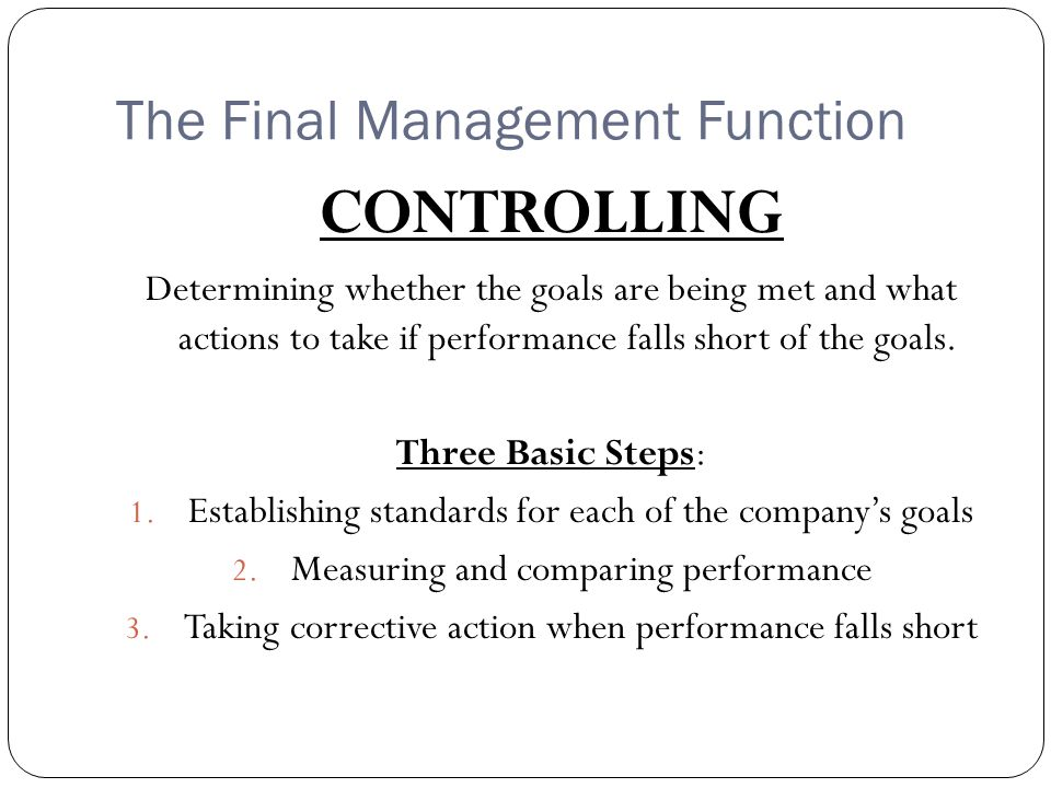 The Final Management Function