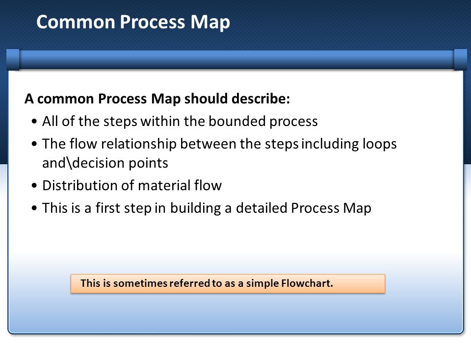 Common Process Map A common Process Map should describe: