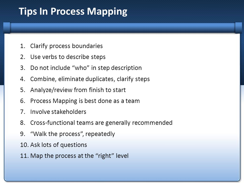 Tips In Process Mapping