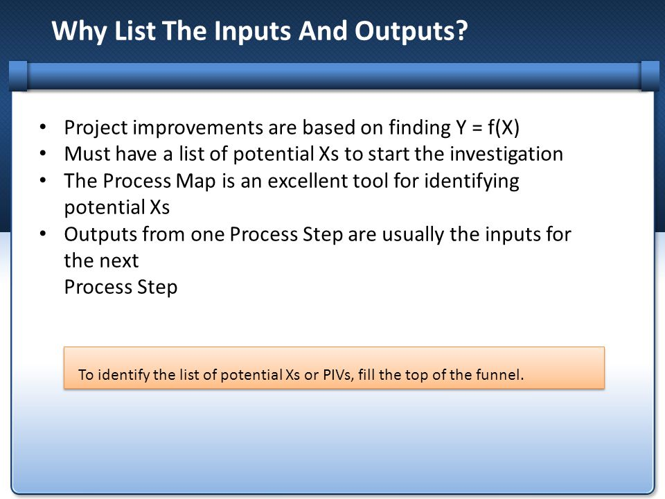 Why List The Inputs And Outputs