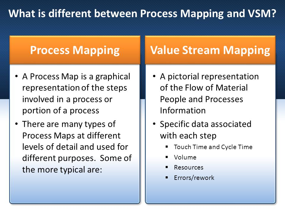 What is different between Process Mapping and VSM