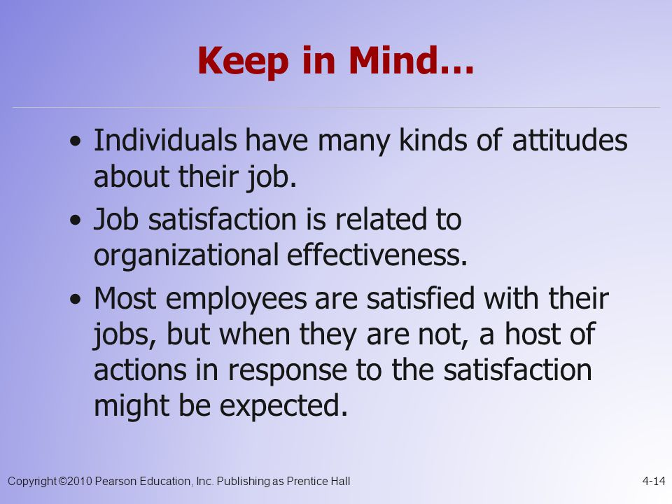 Keep in Mind… Individuals have many kinds of attitudes about their job. Job satisfaction is related to organizational effectiveness.