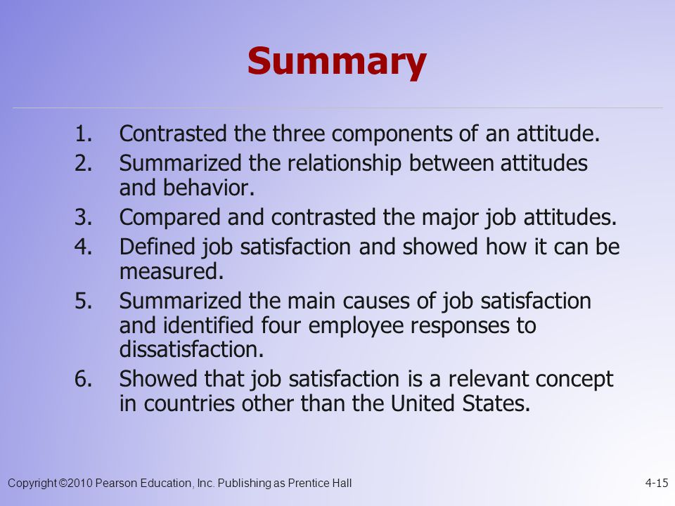 Summary Contrasted the three components of an attitude.
