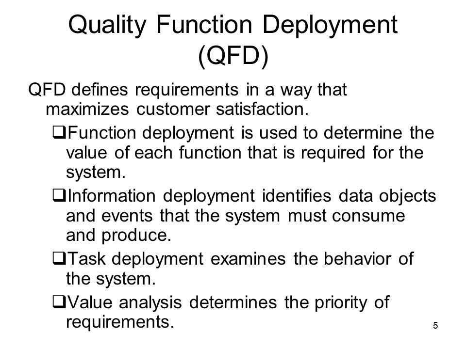 Quality Function Deployment (QFD)