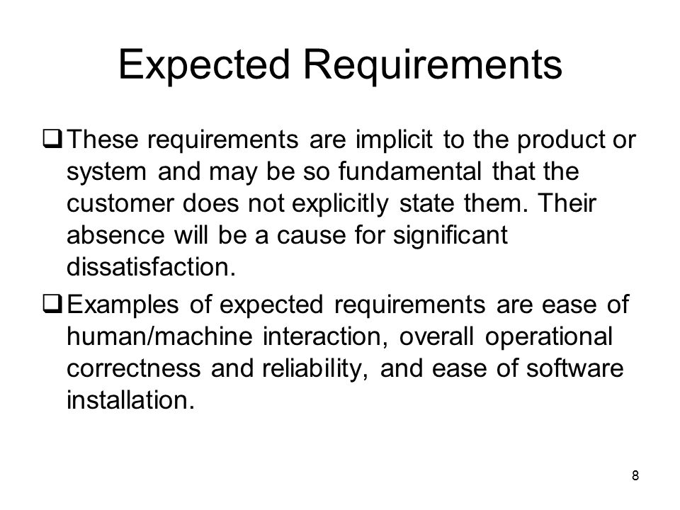 Expected Requirements