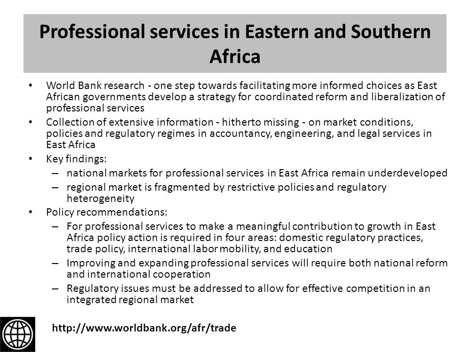 Professional services in Eastern and Southern Africa