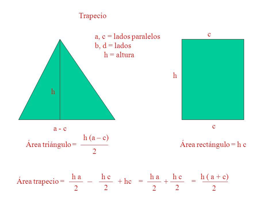 Trapecio c. a, c = lados paralelos. b, d = lados. h = altura. h. h. c. a - c. h (a – c) 2.